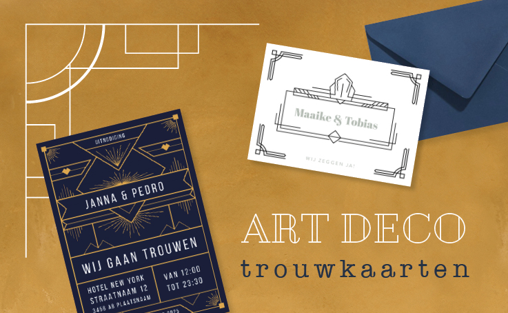 art deco trouwkaarten