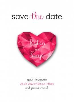 Save the date kaart | Robijnen hart