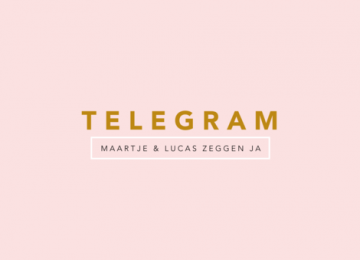 Telegram trouwkaart in pastelroze